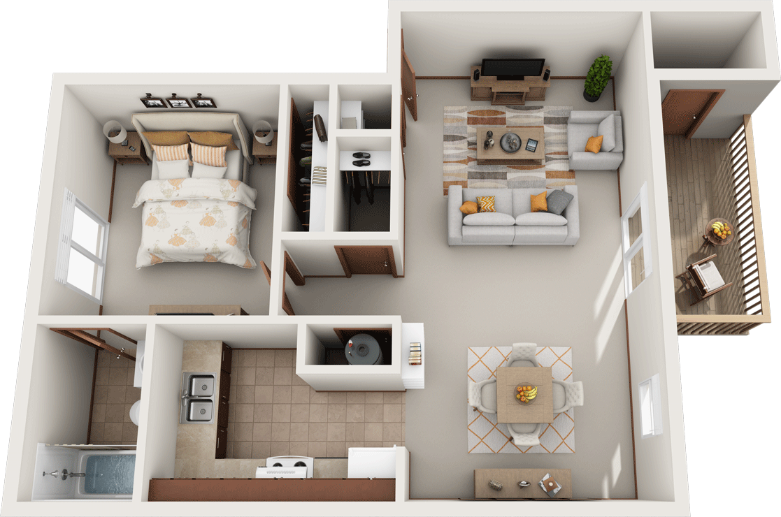 The Poplar Floor Plan, Fountain Park Apartments, Bloomington Indiana