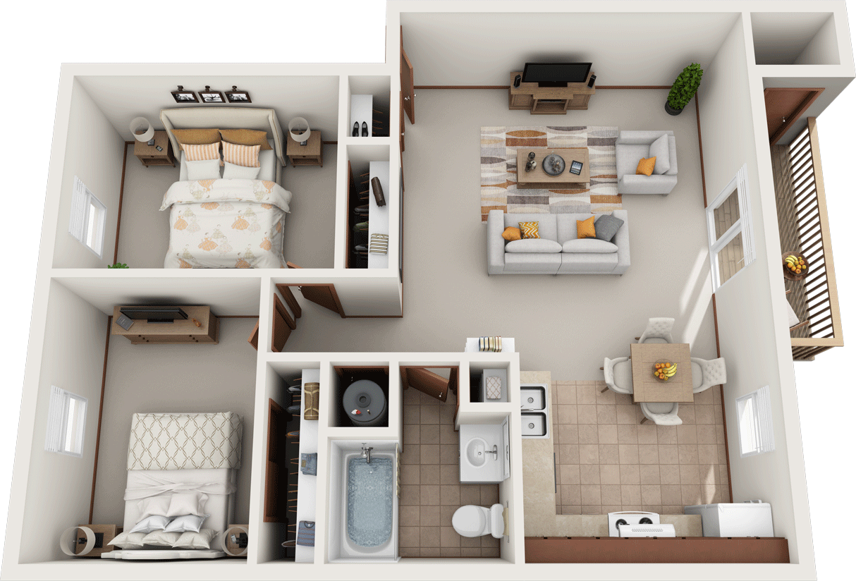 The Spruce Floor Plan, Fountain Park Apartments, Bloomington Indiana