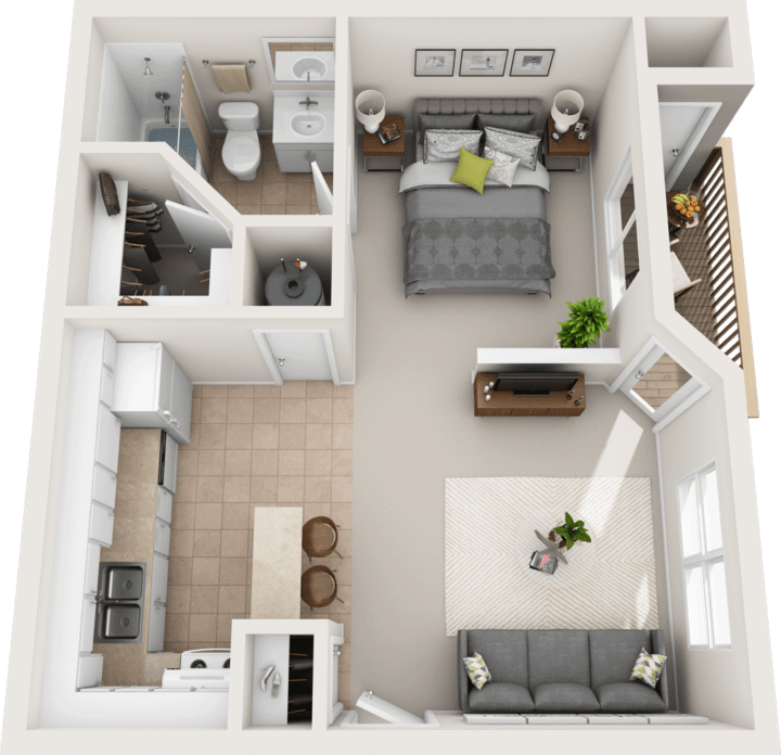 The Pine Floor Plan, Fountain Park Apartments, Bloomington Indiana