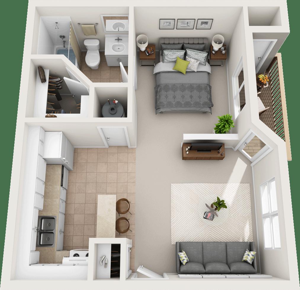 The Pine Floor Plan, Fountain Park Apartments, Bloomington Indiana